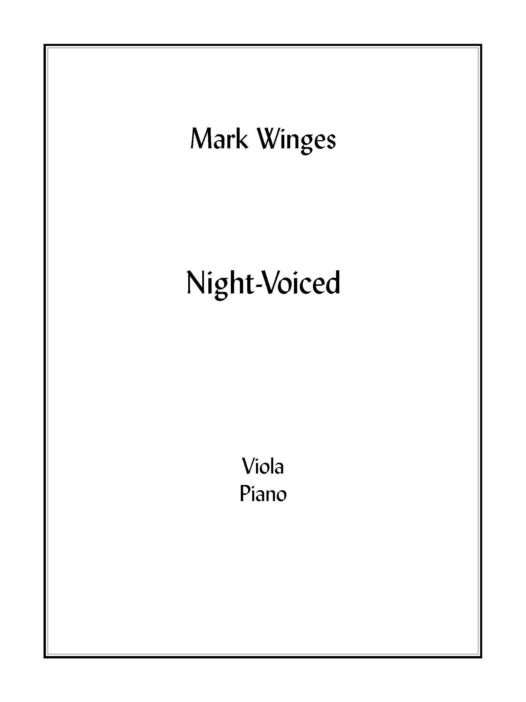 Night-Voiced (piano version) for Viola & Piano